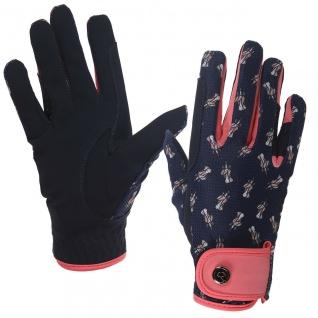 QHP Handschuh Sanna Mesh Junior 1-3 Einhorn-Print auf dem Handrücken