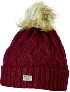 Busse grob gestrickte Mütze EVOLET warmes Fleece-Innenfutter mit Bommel 3 Farben