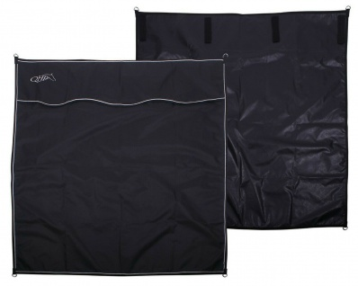 QHP Boxen-Vorhang Stall-Vorhang 4 Klettbänder und 4 D-Ringe schwarz 170 x 180 cm