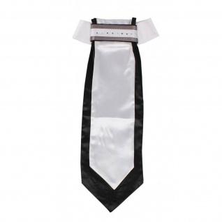 QHP Damen Plastron Coco weiß/schwarz feste Schleife Strass-Steine 2 Farben