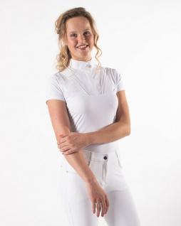QHP Damen Turniershirt Riva Kurzarm. Stehkragen. plissierte Details Sommer 2021 - Vorschau 2