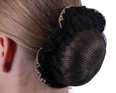 QHP Haarnetz Velvet Haarnetz mit Samtrand Perlen und Strass 2 Farben