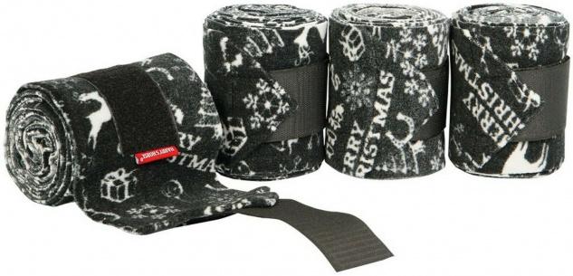 Harry's Horse Fleece Bandagen Weihnachten. schwarz. weisse Weihnachts-Prints