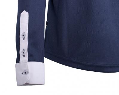 QHP Turniershirt Roald Junior navy langarm mit Button-Down-Kragen - Vorschau 4