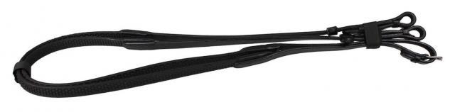 QHP Anti-Rutsch-Zügel aus weichem Gummi braun + schwarz Pony + WB