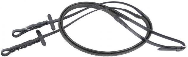 Harry's Horse Gummizügel Zügel Nylon außen Gummi Lederenden schwarz