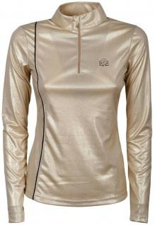 Harry's Horse Damen Shirt EQS Champagne lange Ärmel. Stehkragen. RV. Paspeln