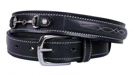 QHP Leder-Gürtel Ricki schwarz Ziergebisse mit Strass-Steinen 4 Größen