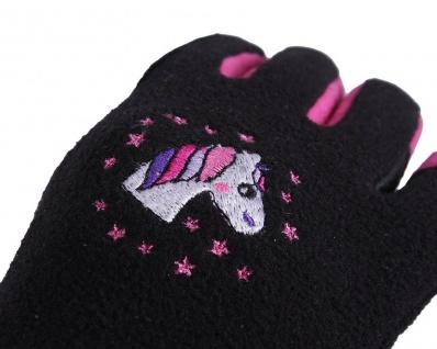 QHP Fleece-Reithandschuhe Fresco Jun schwarz-pink gesticktes Einhorn Junior 1-3 - Vorschau 2