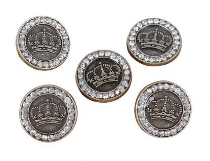 Harry's Horse Knöpfe für Reitjacken mit Krone und Kristallen Bt mit 5 Stück