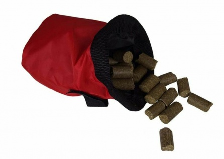 Futter- und Belohnungsbeutel rot-schwarz Nylon Gurtclip Klettverschl. für Gürtel