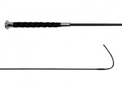 QHP Dressurgerte Comfort mit gedrehtem Griff schwarz. silberner Knopf 130 cm