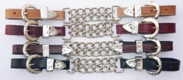 """Kinnkette """" Silver"""" doppelt Leder silberne Beschläge 4 Farben"""