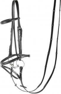 "Harry's Horse Kombinierte Trense "" Bronze"" Leder schwarz unterlegt incl. Zügel"