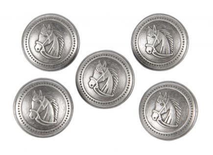 Harry's Horse Knöpfe für Reitjacken mit Pferdekopf antiksilber Bt mit 5 Stück