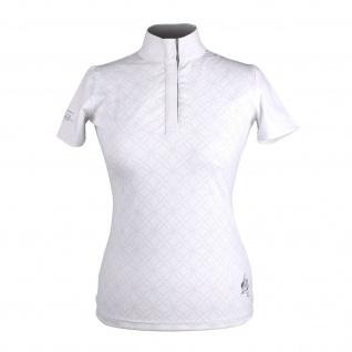 QHP Damen Turniershirt Jill kurzarm Kragen Blumenprint Gr. 40 - 42