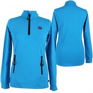 QHP Damen Sportsweater Bobbi türkis langarm Stehkragen Punkt-Print Gr. 36 + 38