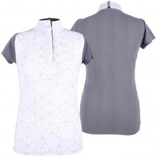 QHP Damen Turniershirt Lexi grau kurzarm Stehkragen Strass-Details