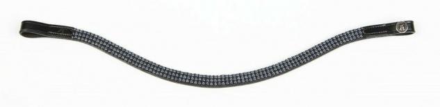 Harry's Horse Stirnband Stirnriemen Atomic Leder schwarz 3 Reih. Perlenkristalle