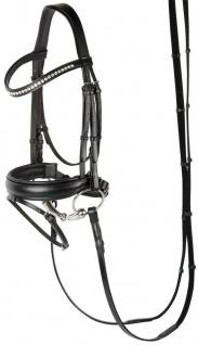 Harry's Horse Schwedische Trense Allegro Leder schwarz mit Lack + AB Kristallen