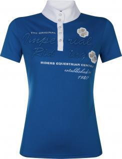 Imperial Riding Damen Turniershirt Diadeem kurzarm Stehkragen Strass Blue
