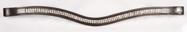 Harry's Horse Stirnband Stirnriemen Crystal Wave Leder schwarz 2 R Strasssteine