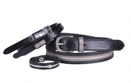 QHP Leder Accessoire-Set Elsa bestehend aus Gürtel. Sporenriemen und Armband