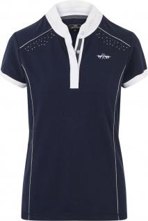 HV POLO Damen Turniershirt Isabeau navy kurzarm ausgefallene Details
