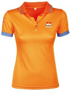 Harry's Horse Damen Polo-Shirt Dutch Orange kurzarm Knopfleiste. großer Print