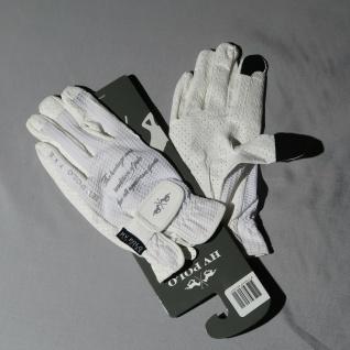 HV Polo Pro Reithandschuhe Raf UV-Schutz Klettverschluss Optical White