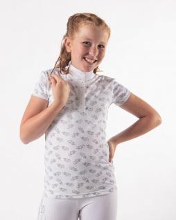 QHP Turniershirt Jade Junior kurzarm Stehkragen Einhornprints Strass Sommer 2021 - Vorschau 2