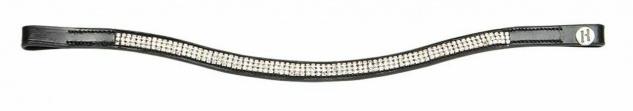 Harry's Horse Stirnband Stirnriemen Silhouette Leder schwarz 3 Reihen Kristalle