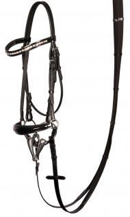 Harry's Horse Hannoveranische Trense Lacque Leder schwarz Lack + Strass 3 Größen