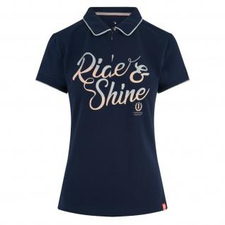 Imperial Riding Damen Poloshirt Romance Kragen kurzer RV glitzernder Print vorne