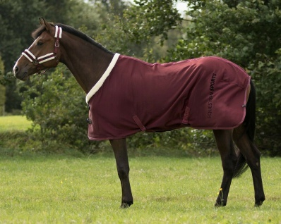 QHP Showdecke Dublin mit weichem Fleece innen Kunstfellkragen beidseitig Prints