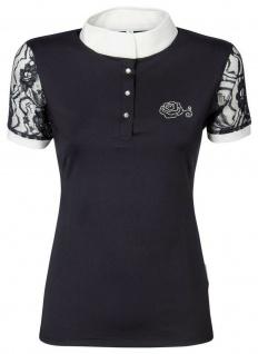 Harry's Horse Damen Turniershirt Lace kurzarm Stehkragen Spitze und Kristallrose