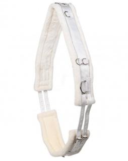 QHP Longiergurt Ontario Polyester mit weichem Kunstfellfutter zahlreiche Ringe - Vorschau 5