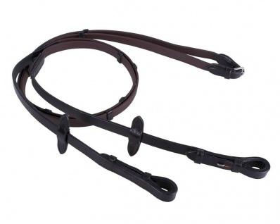 QHP Biothane-Zügel mit Lederstegen braun + schwarz Pony + WB