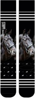 Stapp Horse® Socken PRINT Kniestrümpfe mit Motivdruck Pferdekopf Rappe Gr. 35-38