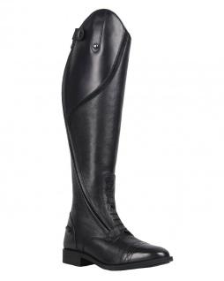QHP Eleganter Damen Leder-Reitstiefel Tamar weit schwarz + braun Größe 36 - 42