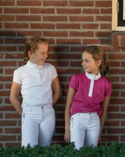 QHP Mädchen Turniershirt Kieki Junior kurzarm Stehkragen silberne Pferdeköpfe