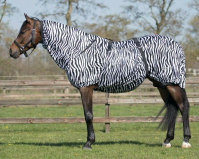 QHP Ekzemdecke mit Hals und abnehmbarem Bauchlatz Zebra Gr. 75 - 175 cm