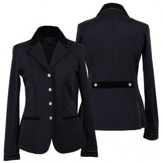 QHP Damen Turniersakko Turnierjacket Lily Adult Samtdetails+Strassknöpfe schwarz - Vorschau