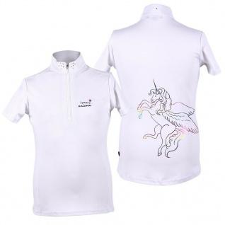 QHP Mädchen Turniershirt Milou Junior weiss kurzarm großer Einhorn-Print farbig