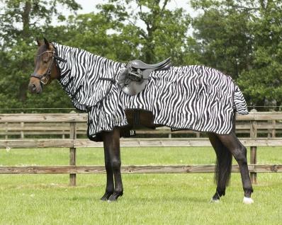 QHP Fliegen-Ausreitdecke mit abnehmbarem Halsteil Sattelaussparung Zebra