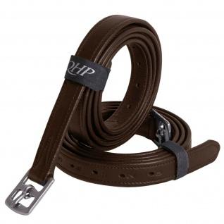 QHP Steigbügelriemen Stark aus Leder mit Edelstahl-Schnallen 3 Größen 2 Farben