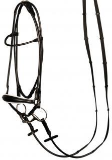 Harry's Horse Hannoveranische Trense rund genäht Leder schwarz 3 Größen