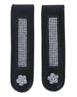 QHP Stiefel-Clip Flower Leder-Clip mit Strass zum Aufpeppen Ihrer Stiefel