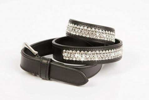 Harry's Horse Leder-Gürtel Double Diamond 3 Reihen transparente Kristalle 2 Farb