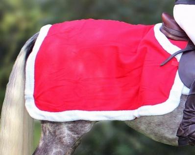 QHP Ausreitdecke Fleece für Ihr Weihnachts-Outfit roter Fleece weißer Plüschrand